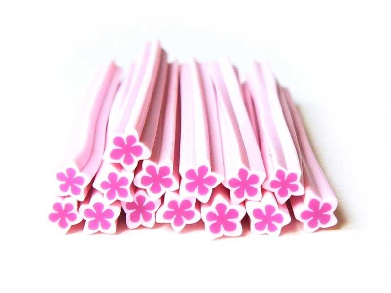 Acheter Cane étoile et fleur rose- en pâte fimo - à trancher - 0,49€ en ligne sur La Petite Epicerie - Loisirs créatifs