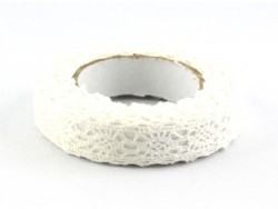 Notched fabric tape (lace) - white