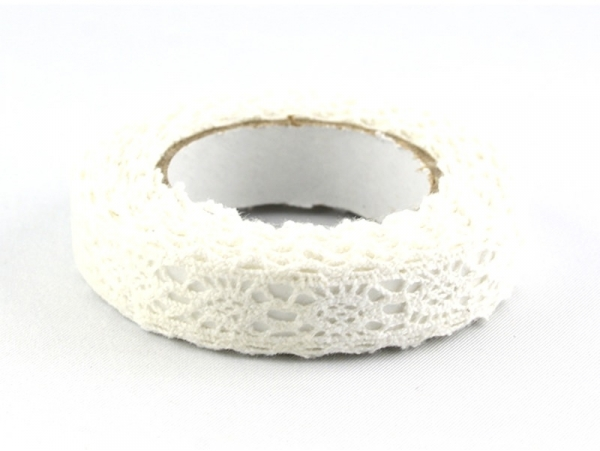 Fabric tape dentelle cranté - blanc  Rico Design - 1