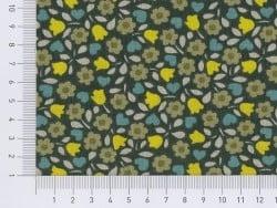 Tissu vert sapin à fleurs vintage