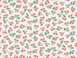 Printed fabric - neon orange cherries