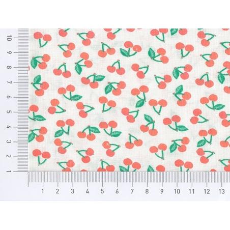 Tissu imprimé - cerises oranges fluo