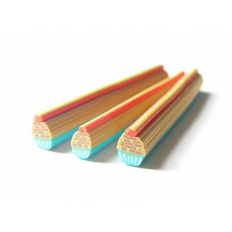 Cupcake cane - blue with colourful sprinkles