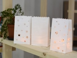 5 paper candle bags - hearts