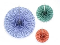 3 paper rosettes - various colours