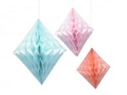 3 diamants alvéolés en papier - pastel
