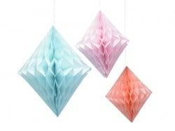 3 Papierdiamanten mit Wabenmuster - pastellfarben