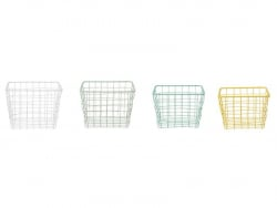 4 pastel-coloured baskets - green