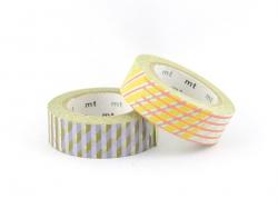 Set 2 Masking Tape - Pois et rayures vert et corail