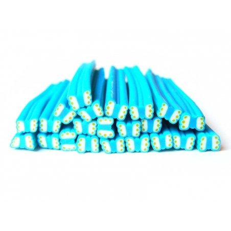 Butterfly cane - blue and green polka-dots