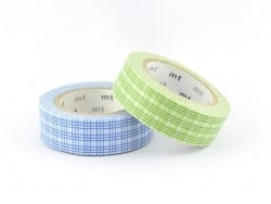 Set 2 Masking Tape - carreaux vert et bleu