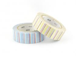 Set 2 Masking Tape - rayé shima bleu-rose/anis-parme
