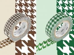 Set 2 Masking Tape - motif pied de poule chidori marron et vert