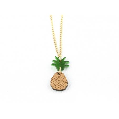 Collier ananas en bois et plastique