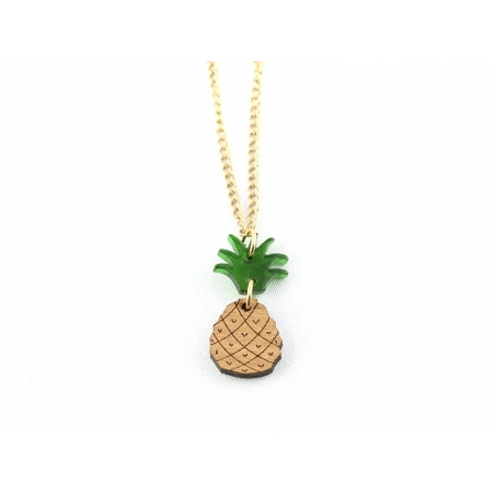 Wooden and plastic pineapple necklace