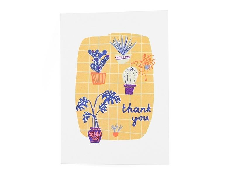 "Card  - ""Thank you"" - neon colours"