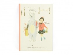 Small notebook - girl and bear/floral