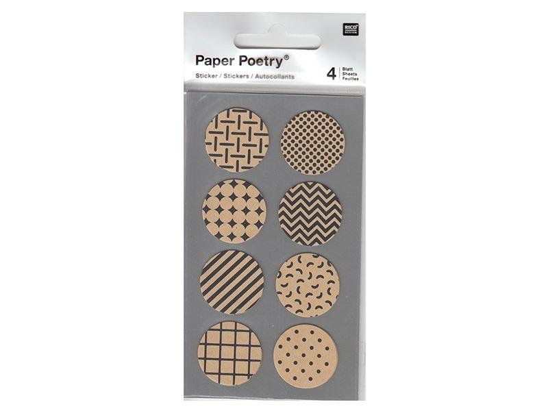 Stickers - kraft ronds noir
