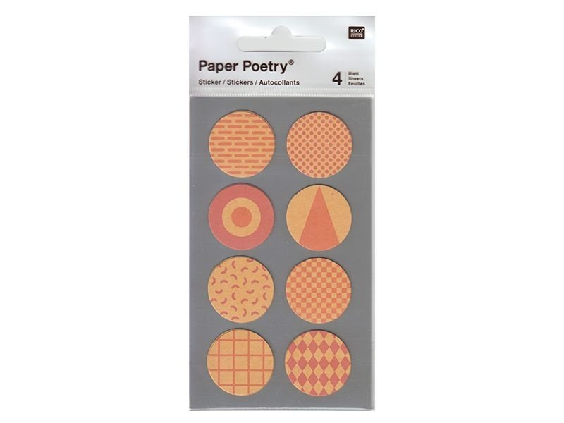 Stickers - coral-red kraft paper circles