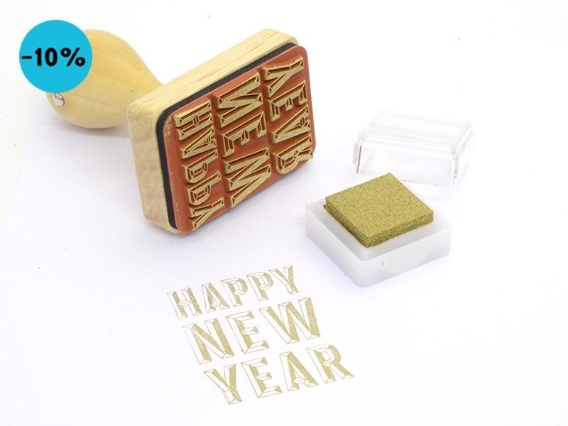 Tampon avec manche en bois - HAPPY NEW YEAR