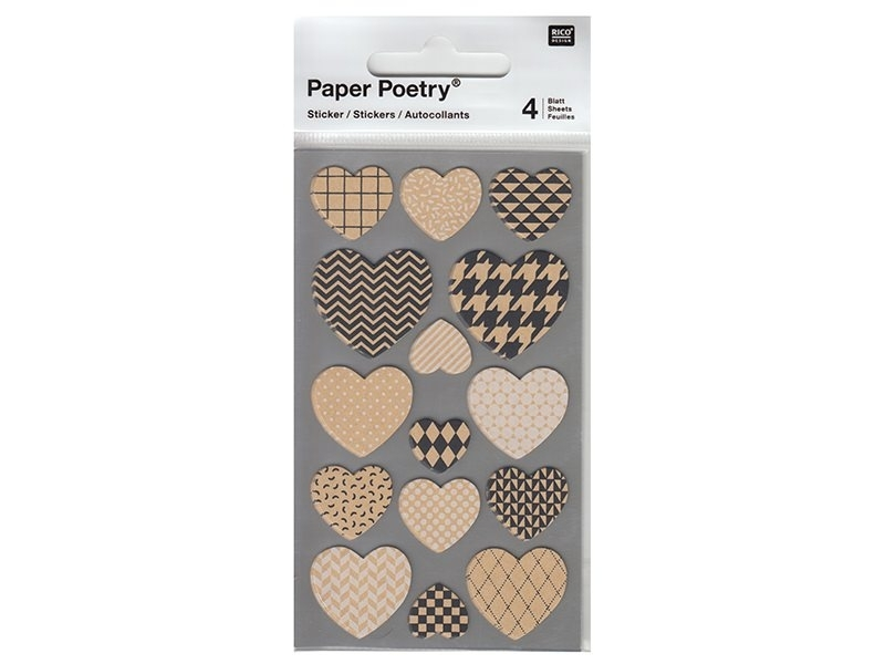 Stickers - kraft paper hearts