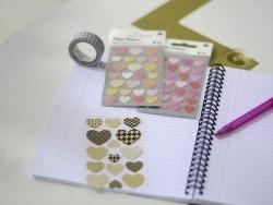 Stickers - coeurs métallisés