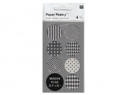 Stickers - black and white washi tape circles