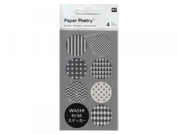 Stickers - ronds noirs et blancs washi