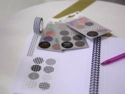 Stickers - ronds gris et blancs washi