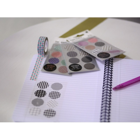 Stickers - neon-coloured washi tape circles with geometric patterns