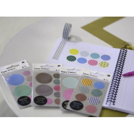 Stickers - washi tape circles with geometric shapes in different stylish colours