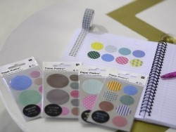 Stickers - washi tape circles in different colours with zigzag patterns and geometric shapes