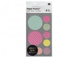 Sticker - Geometrische und pastellfarbene Kreise aus Washitape mit Zickzackmuster