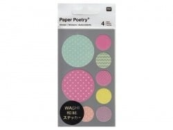 Stickers - pastel-coloured washi tape circles with a zigzag pattern and geometric shapes