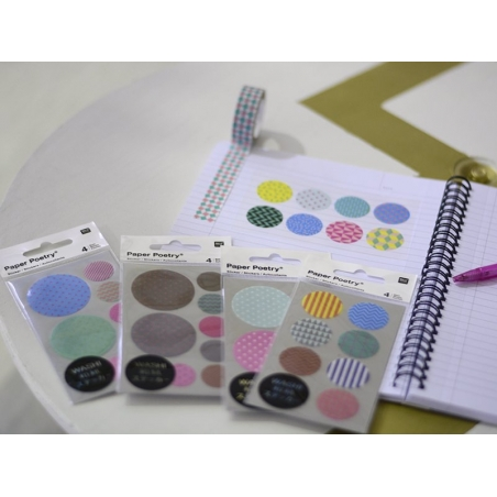 Stickers - ronds chevrons et géométriques pastels washi