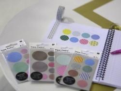 Stickers - ronds chevrons et géométriques dorés et argentés washi