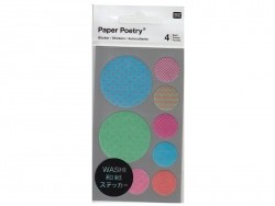 Stickers - blue, green and pink washi circles with a zigzag pattern and geometric shapes