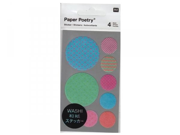 Stickers - ronds chevrons et géométriques bleu,vert, rose washi