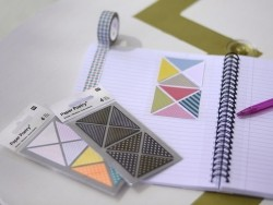 Stickers - black and metallic washi tape triangles with geometric patterns
