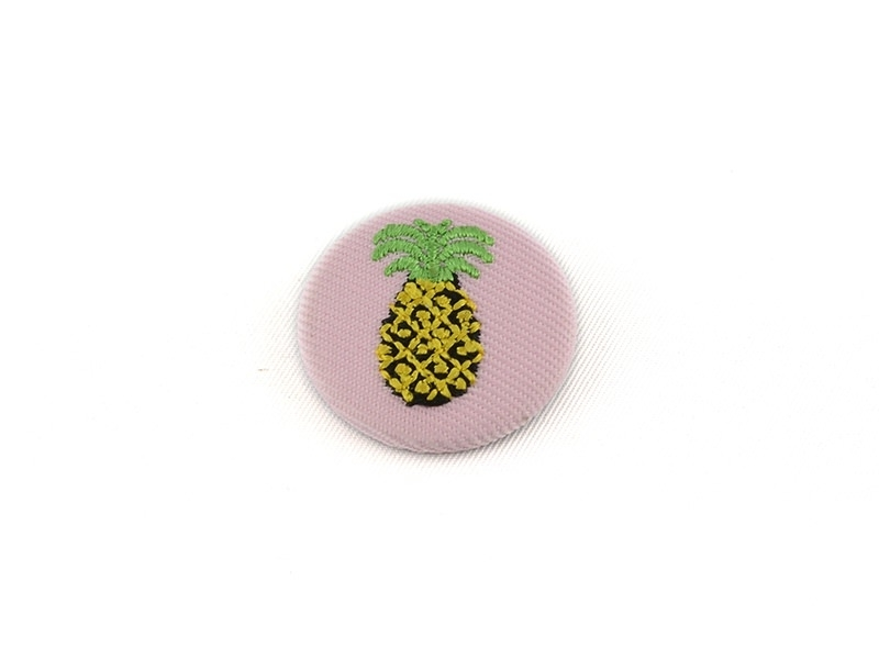 Embroidered brooch - pineapple