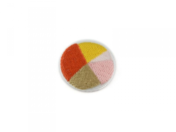 Embroidered brooch - pink and orange geometric shapes