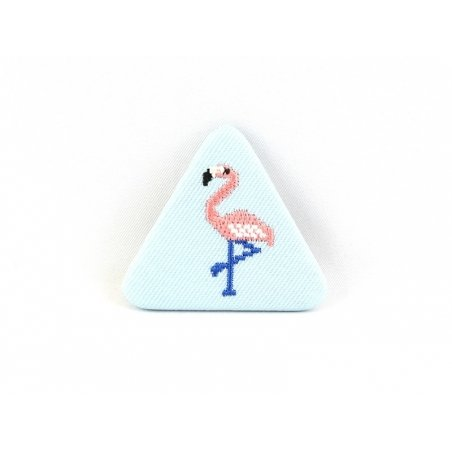 Embroidered brooch - flamingo