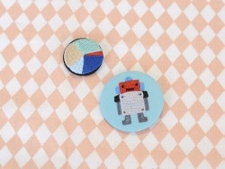 Embroidered brooch - robot