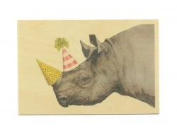 Carte postale en bois - Party rhinoceros