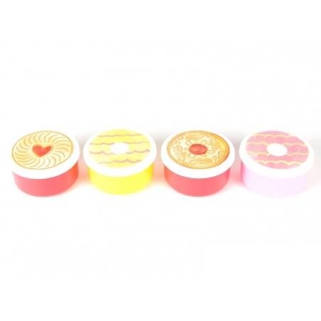 4 petites boites rondes hermétiques - biscuits