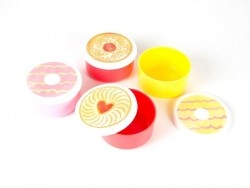 4 small round air-tight boxes - biscuits