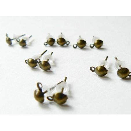 10 paires de puces d'oreilles pendantes couleur  bronze  - 1