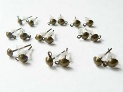 10 paires de puces d'oreilles pendantes couleur  bronze