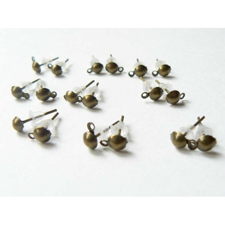 10 paires de puces d'oreilles pendantes couleur  bronze  - 2