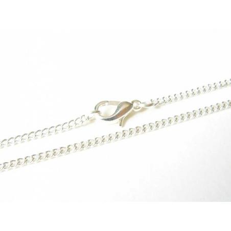 Collier ras de cou chaine goumette couleur argent - 39 cm  - 2